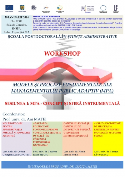 "Workshop ""Modele şi procese fundamentale ale Managementului Public Adaptiv"""